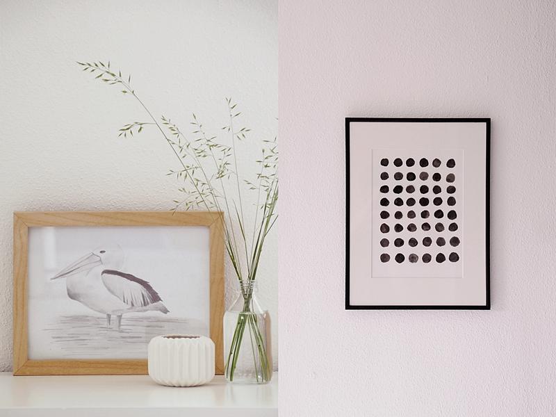 DIY Idee: Pelikan zeichnen und grafischen Print malen als schnelle Wanddeko