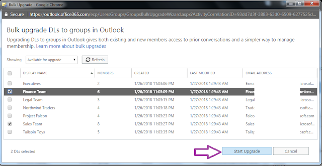 Upgrade Bulk Distribution Groups to Office 365 Groups