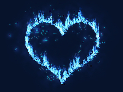 Blue heart on fire flames background