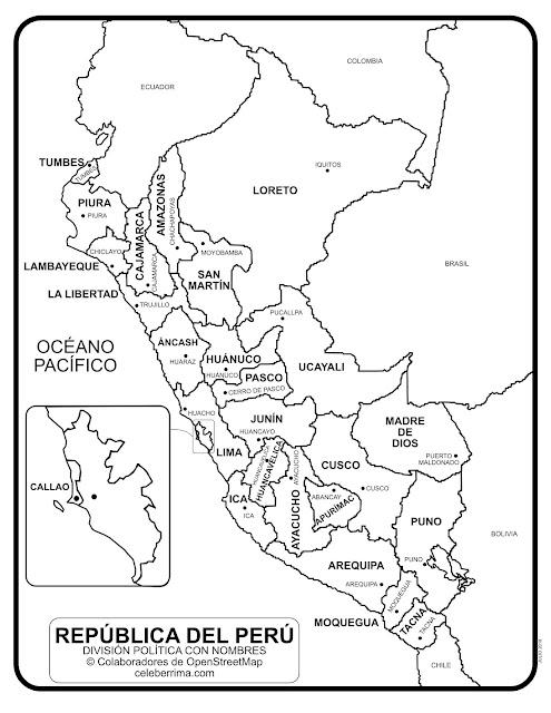 mapa Perú Político con nombre para colorear