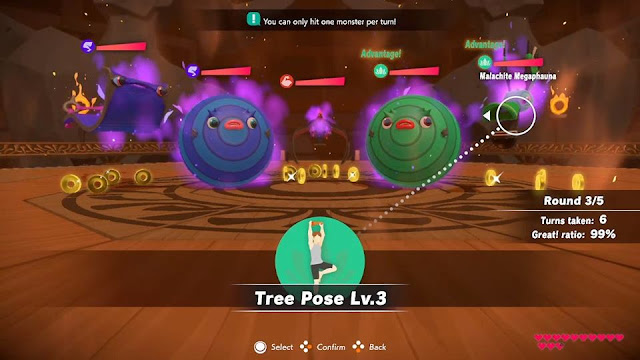 Ring Fit Adventure Battle Gym World 19 Getting Rusty town request mission one monster per turn Malachite Megaphauna Tree Pose