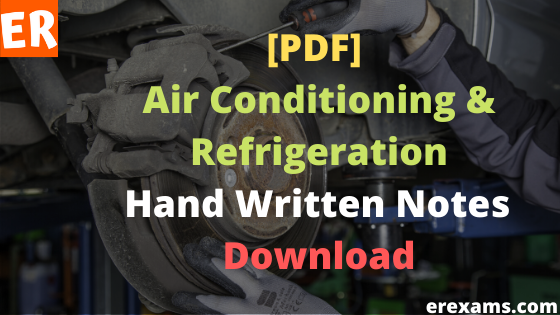 Air Conditioning and Refrigeration Notes Free Pdf Download