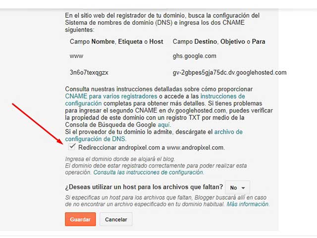 redirección en blogger