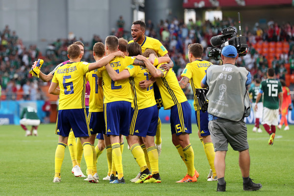 Sweden player celebrate victory following during the 2018 FIFA World Cup Russia group F match between Mexico and Sweden at Ekaterinburg Arena on June 27, 2018 in Yekaterinburg, Russia.