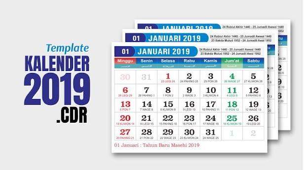 Desain Kalender 2019 Cdr Lengkap Jawa Hijriyah Indonesia