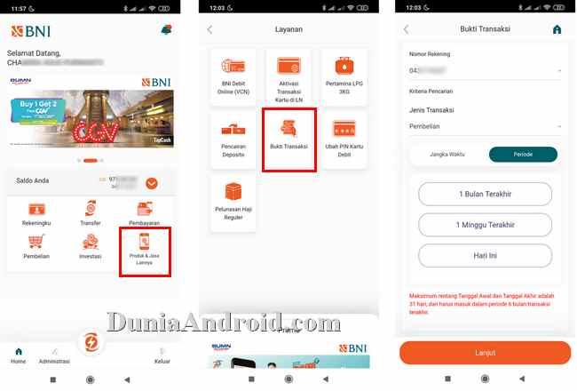 Menu pencarian nota transaksi BNI Mobile banking