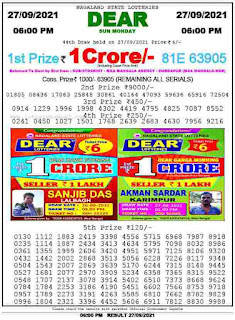 Sikkim State Lottery Sambad 27.9.2021 Result Today at 6 PM