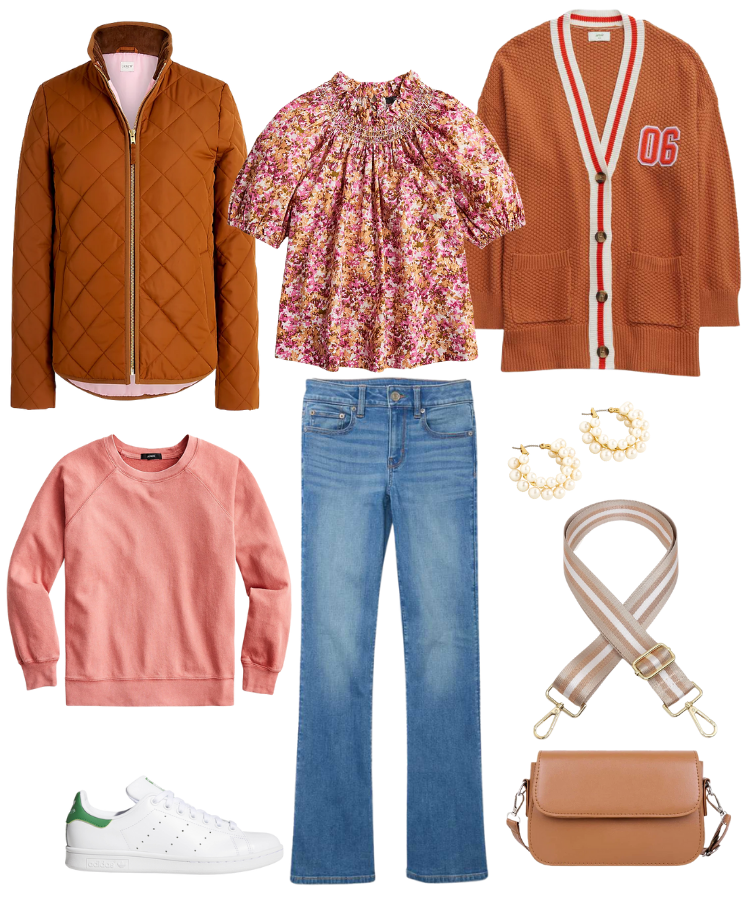 russet fall outfit, pink fall outfit, fall fashion for women over 40