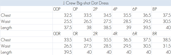 Below is  chart of measurements that  crew   live chat service provided me it pretty close to the  took myself also review big shot dot dress elle blogs rh elleblogs