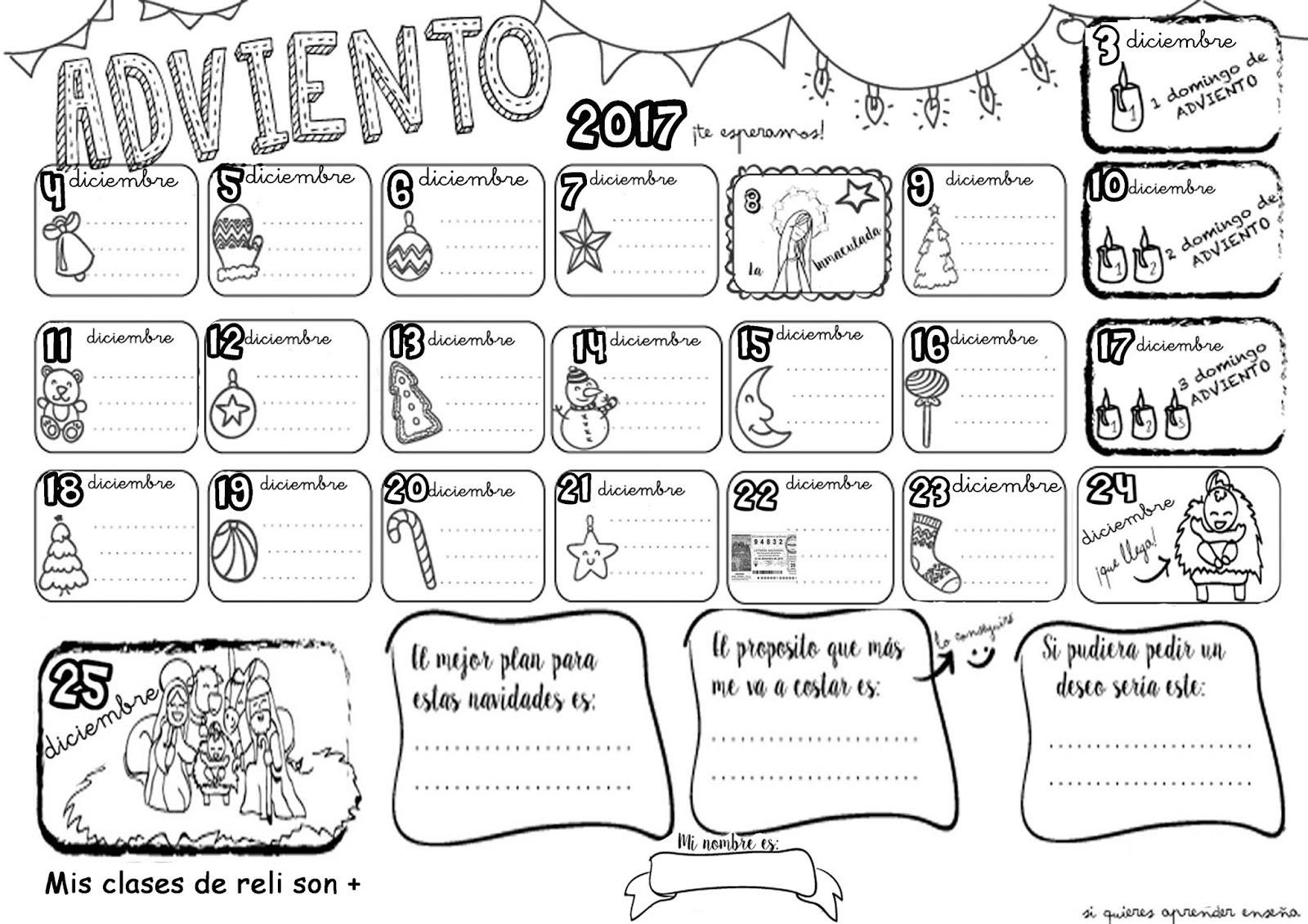 Mis clases de reli son for Calendario adviento 2017