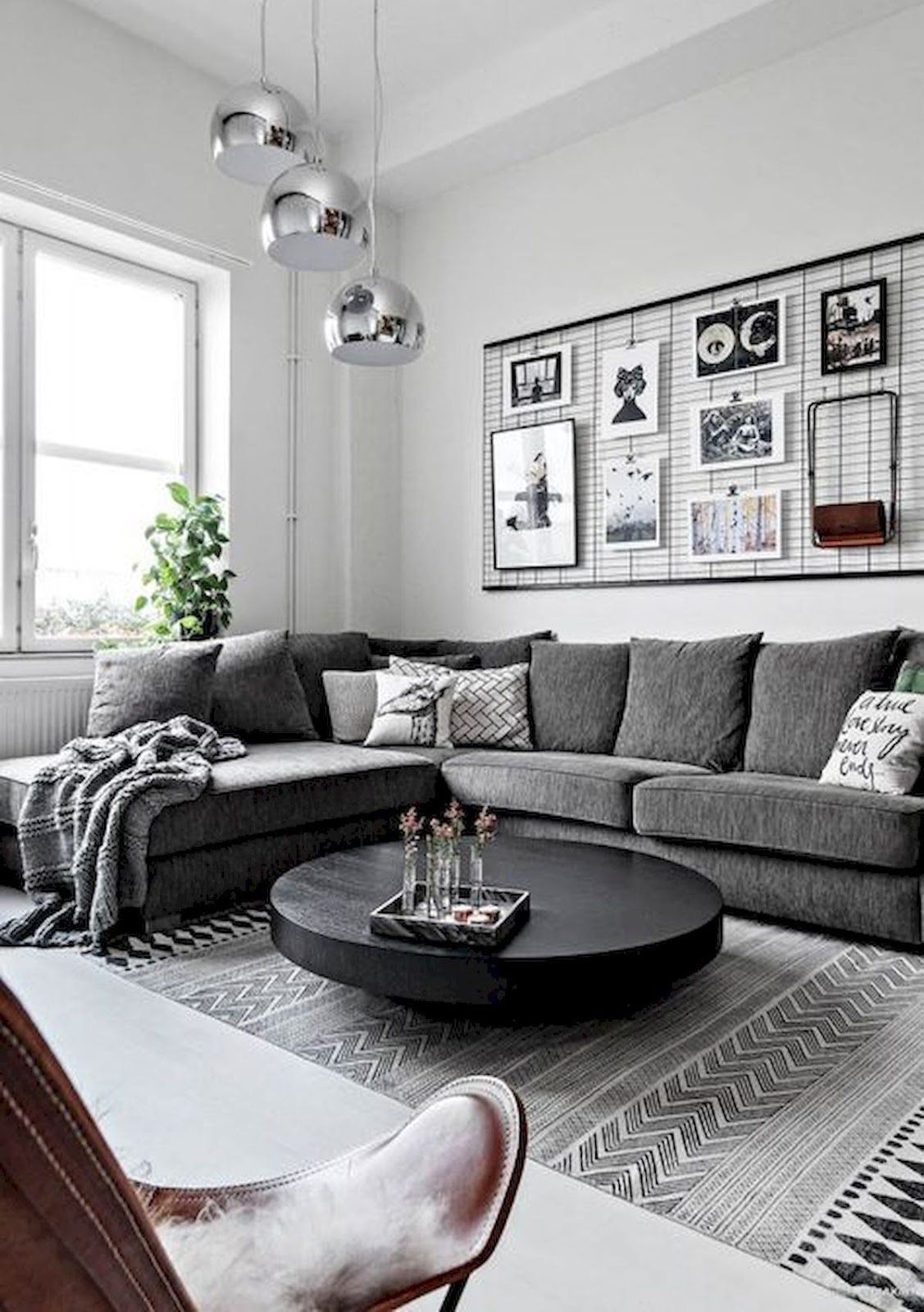 trendy grey living room decoration