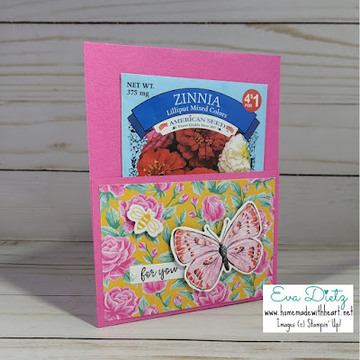Magenta Madness cardstock pocket card with butterfly