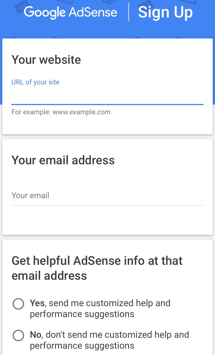 adsense application and approval
