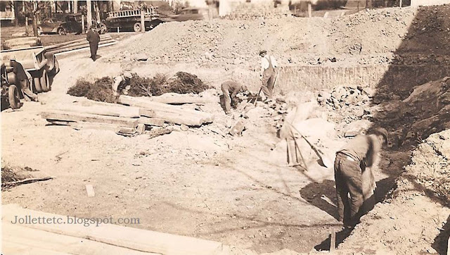 Construction of Violetta Davis Ryan's apartment building 1935 https://jollettetc.blogspot.com