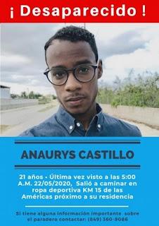 Familiares reportan desaparición del joven Anaurys Castillo