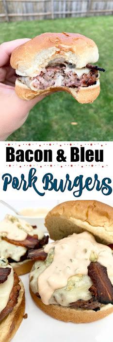 Bacon & Bleu Pork Burgers. #ad #iowapork #sweetsavoryeats