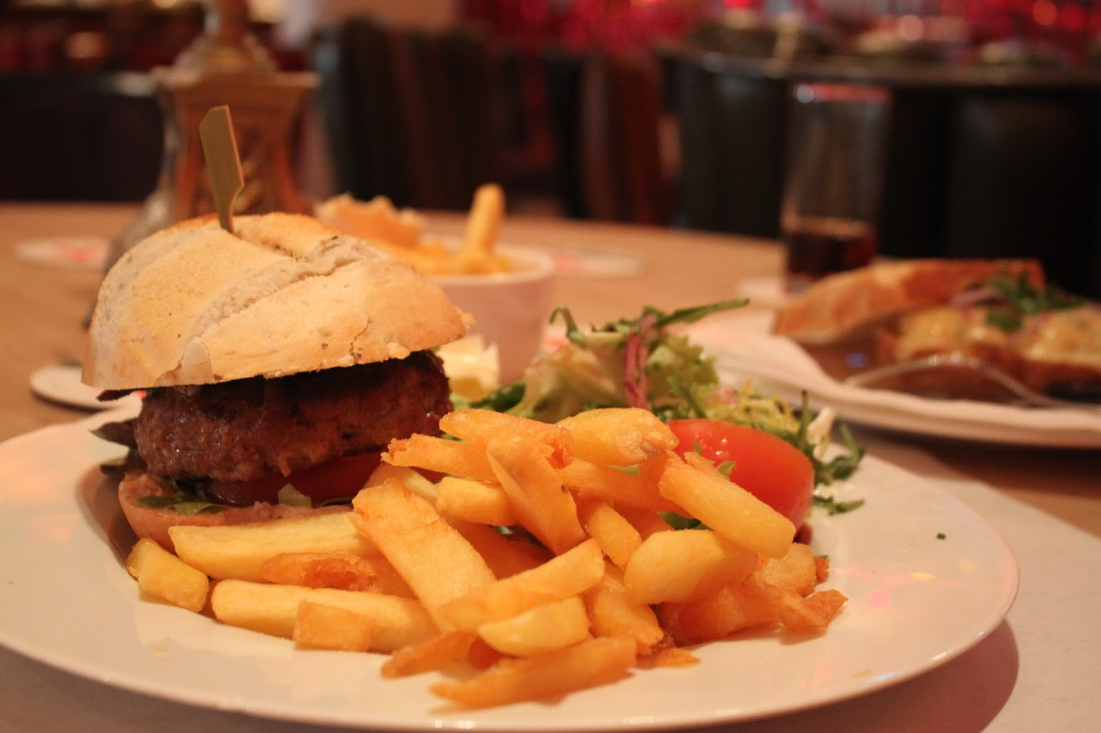 The burger and chips served at Cafe Schium, Amsterdam,