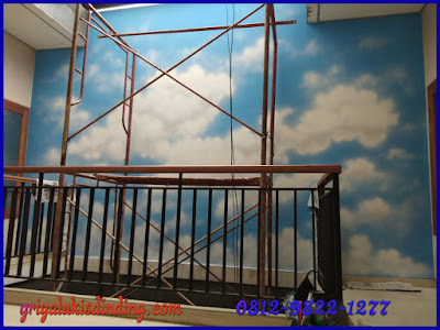 Mural Lukis dinding awan cerah