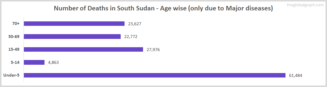 Number of Deaths in South Sudan - Age wise (only due to Major diseases)