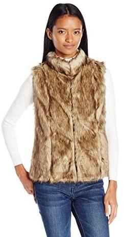 Petite Brown Faux Fur Vest For Women