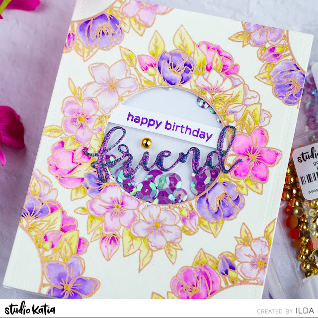 Floral Wreath Birthday Shaker Card for Studio Katia by ilovedoingallthingscrafty.com