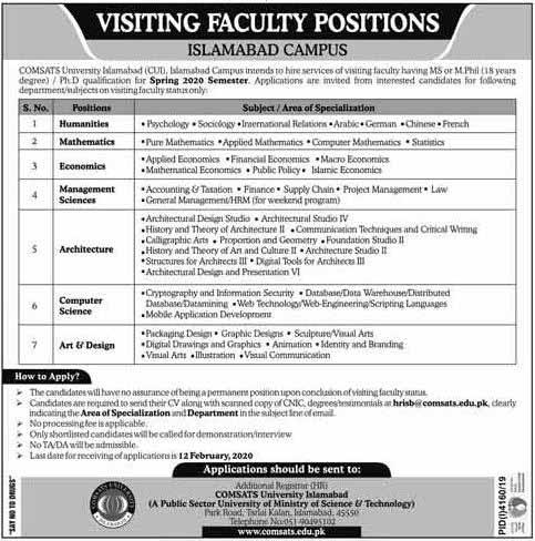COMSATS University Islamabad Jobs 2020