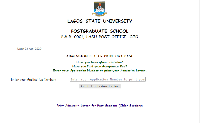 LASU PG Acceptance Fee & Admission Letter Printing Guide 2019/2020