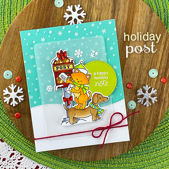 Cat and Dog mailing holiday letters card by Jennifer Jackson | Holiday Post Stamp Set, Frames & Flags Die Set, Land Borders Die Set and Petite Snow Stencil Set by Newton's Nook Designs #newtonsnook #handmade