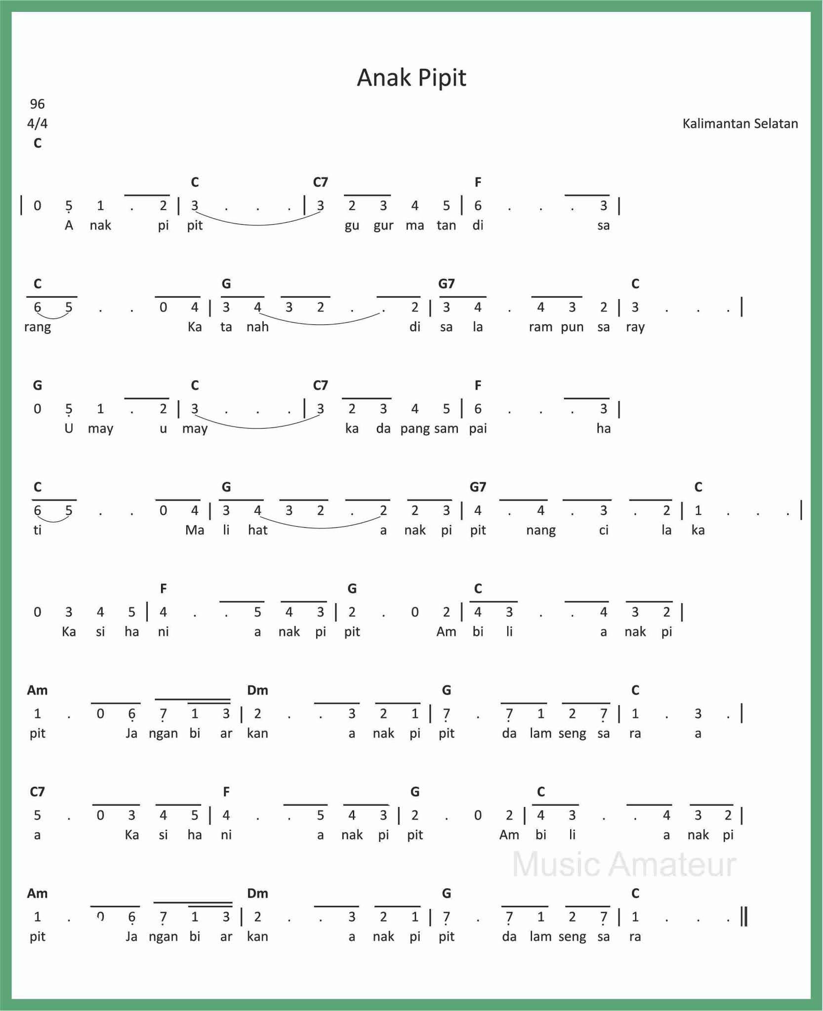 Not Angka Lagu Anak2 : angka, anak2, Angka, Pipit, SEPUTAR, MUSIK