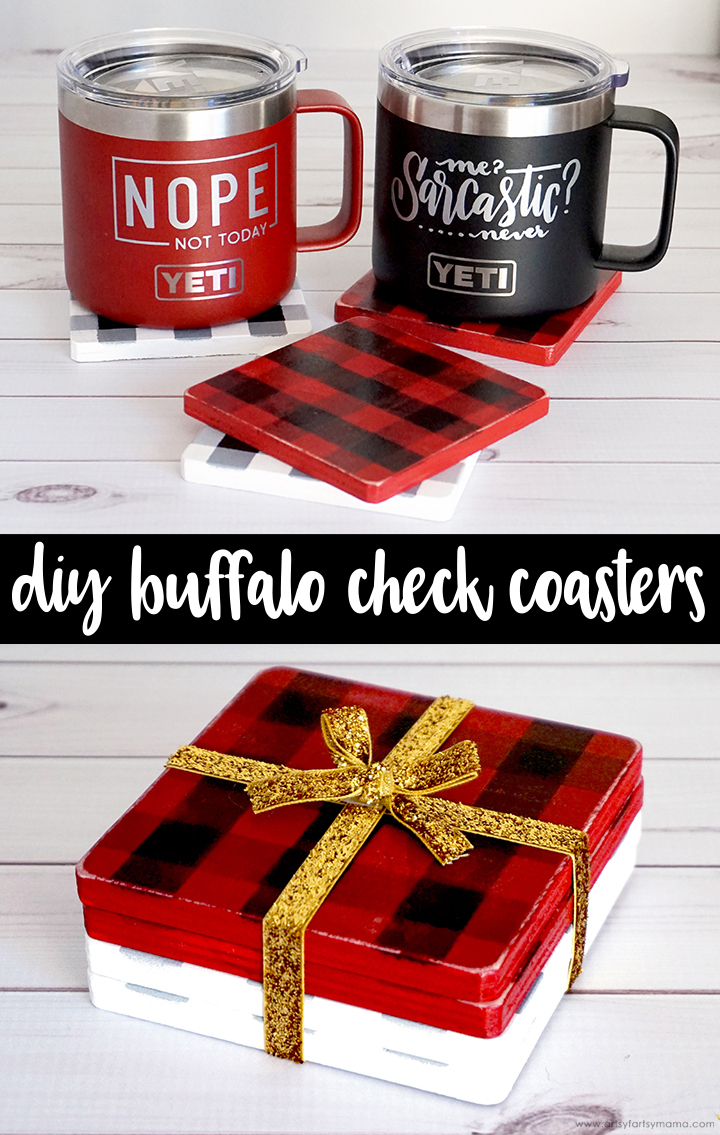 DIY Buffalo Check Painted Coasters