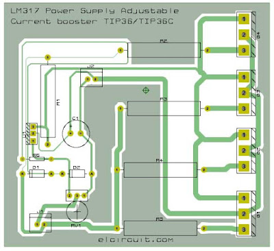 PCB Layout Design LM317 Adjustable Power Supply and Current Booster