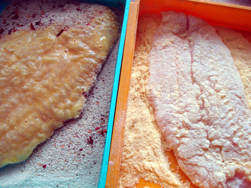 Bread the catfish fillets