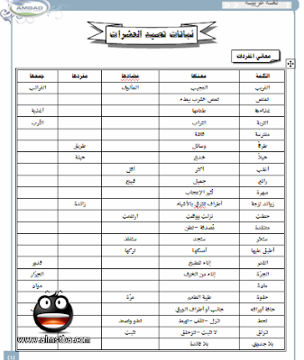 مذكرة مراجعة ليلة الإمتحان في مادة عربي الصف الرابع الإبتدائي