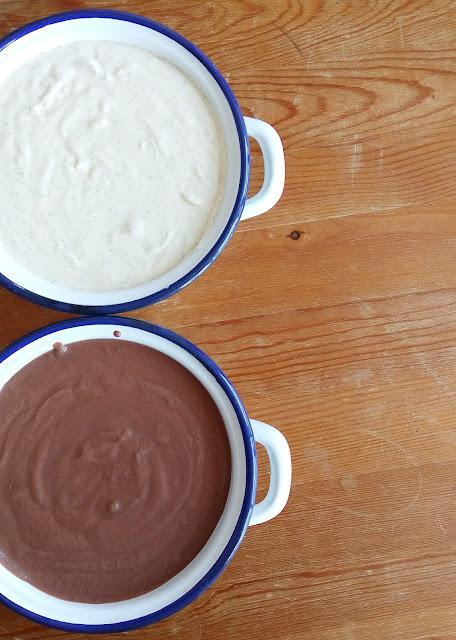 Helados cremosos caseros: chocolate y vainilla