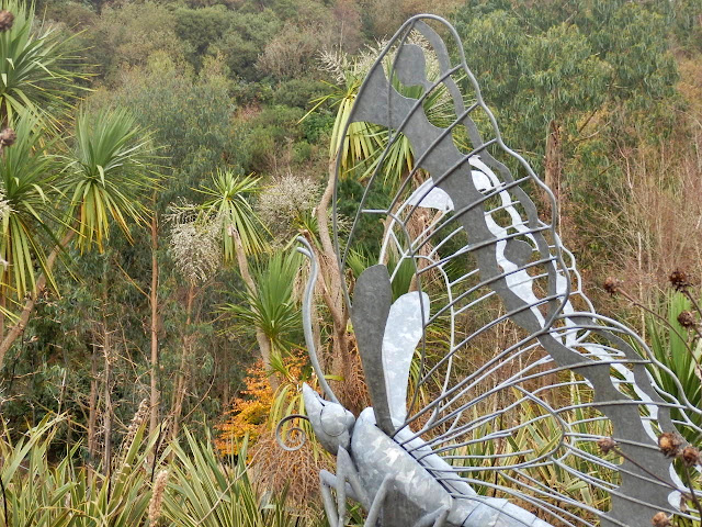 A large metal butterfly at the Eden Project, Cornwall