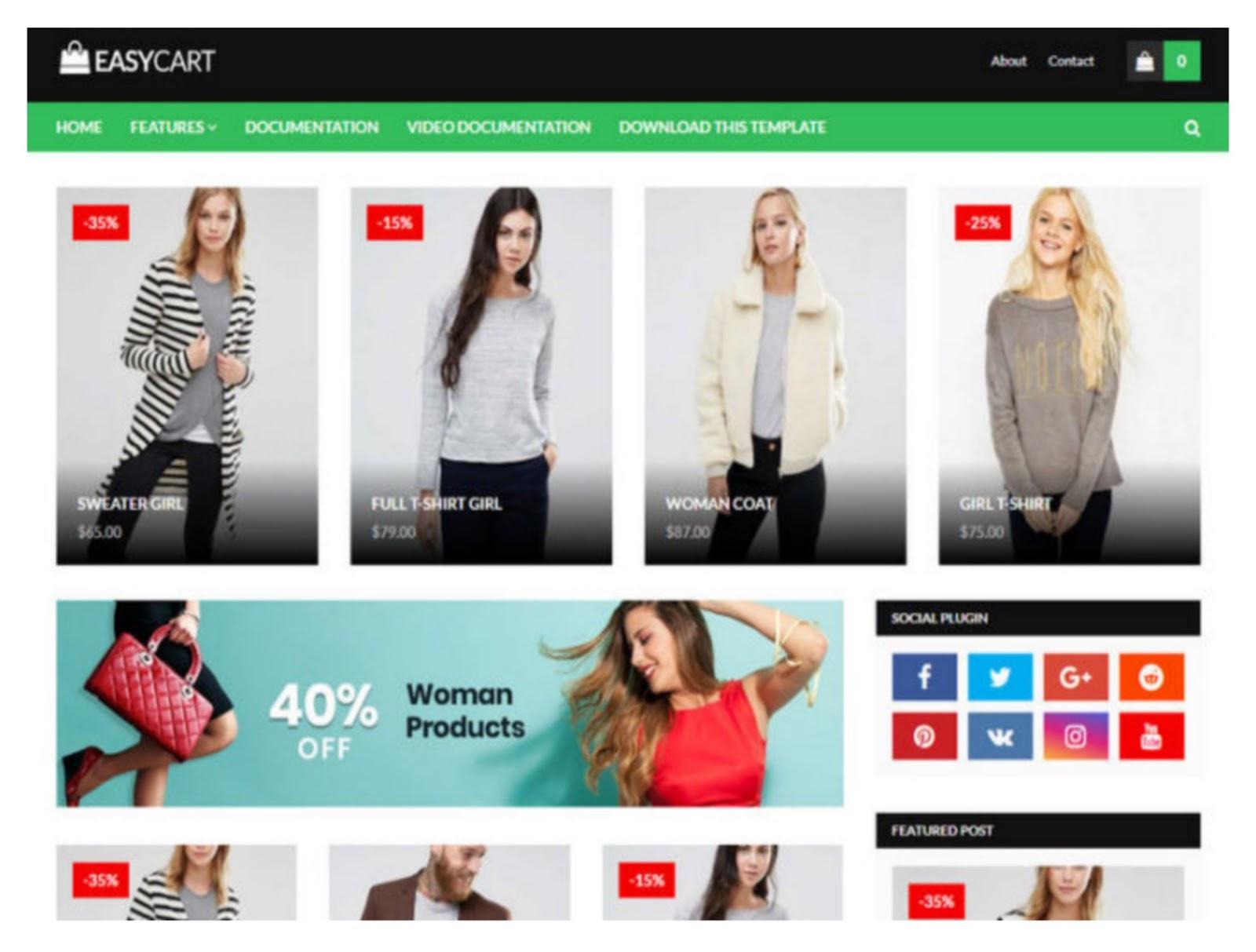 Easy Cart E-commerce Blogger Template
