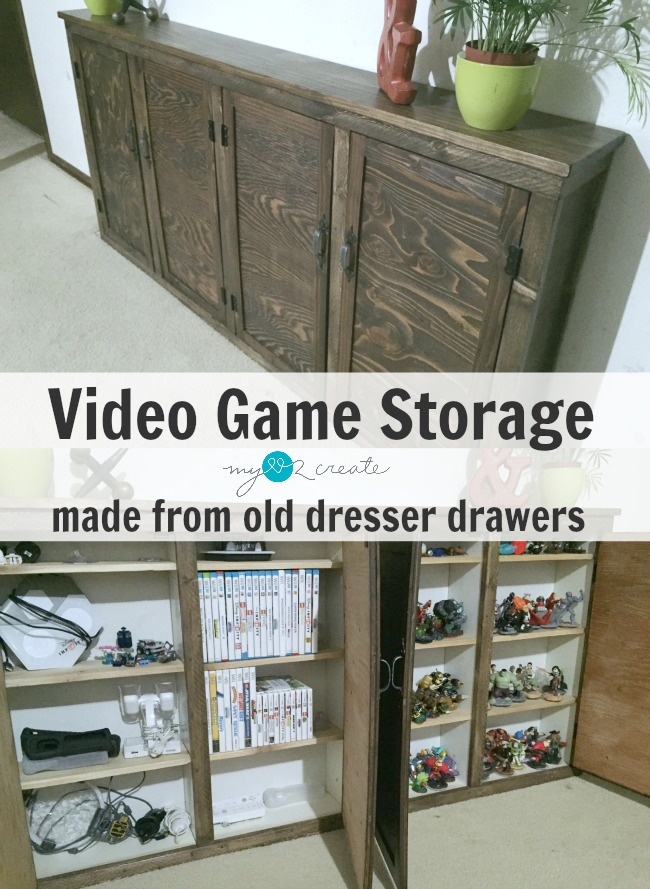 Create your own Video Game Storage cabinets from old drawers, tutorial at MyLove2Create