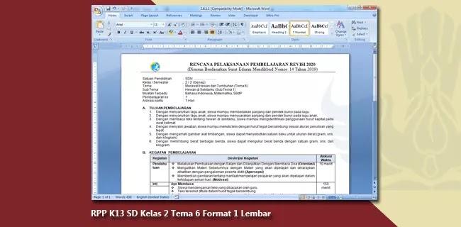RPP K13 SD Kelas 2 Tema 6 Format 1 Lembar
