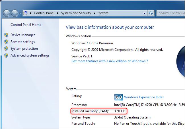 عرض مقدار ذاكرة الوصول العشوائي الموجودة على جهاز الكمبيوتر على نظام التشغيل Windows 7