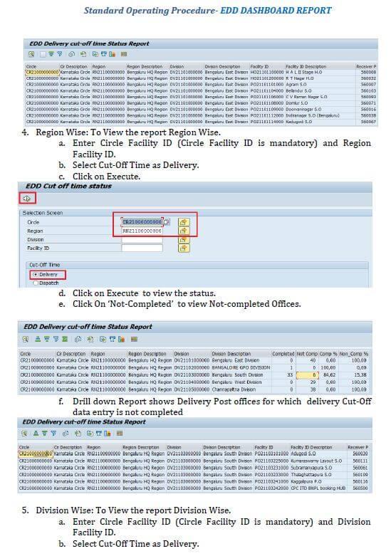SOP for EDD Dashboard Report