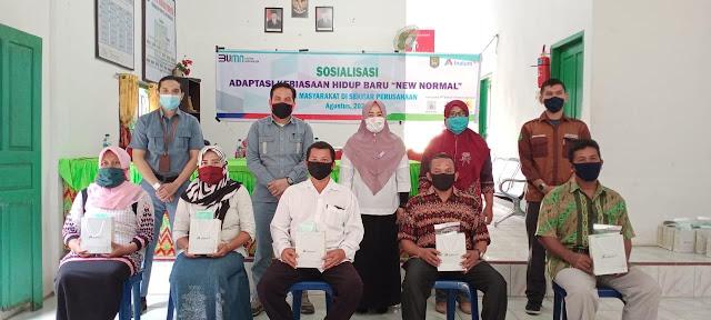 "Keterangan Gambar : Sosialisasi Adaptasi Kebiasaan Hidup Baru ""New Normal"" dilaksanakan di Desa Marjanji Aceh Kabupaten Asahan ( 26/8/2020 )."