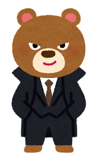 悪そうな動物のキャラクター(クマ)