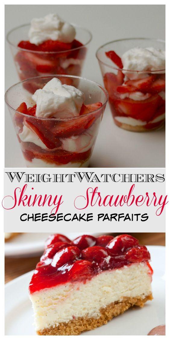Skinny No-Bake Strawberry Cheesecake Dessert Parfaits Recipe
