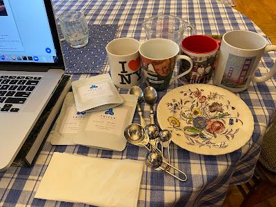 set-up for virtual tasting of Triple Coffee