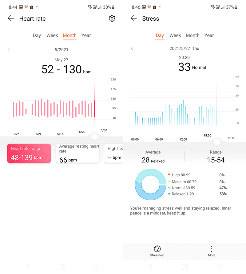 Heart rate and Stress tracking pages