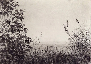 Charcoal sketching of a view from End Point Manipal, By Manju Panchal