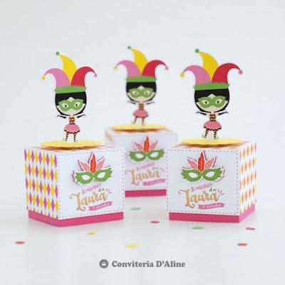 caixinha carnaval lembrança decoração festa infantil