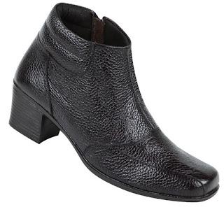 Jual sepatu boots wanita murah meriah ZA9862 bahan kulit warna hitam ukuran 37 sd 42