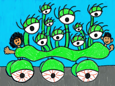 drawing of an art car for an elementary art lesson