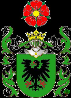 herb von Le Thick; w polu zielonym orzeł czarny; klejnot róża czerwona